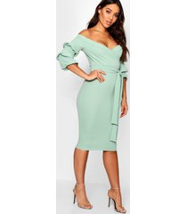 off the shoulder sleeve detail midi dress, sage