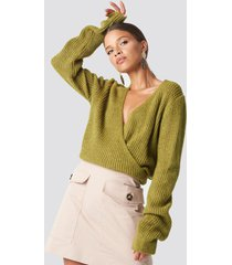 trendyol crossed knitted sweater - green
