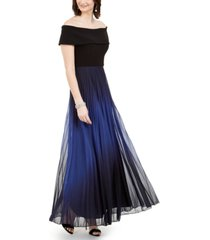 betsy & adam off-the-shoulder pleated glitter gown