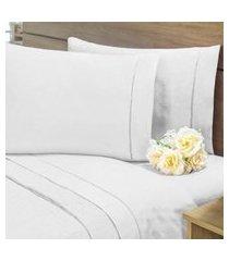 lençol sem elástico cama viúva 140fios com vira algodáo-pl branco
