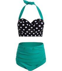 polka dot high waist plus size push up bikini