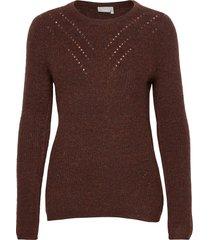frmesandy 1 pullover stickad tröja brun fransa