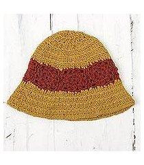 100% alpaca crocheted hat, 'harvest field' (peru)