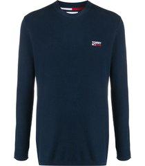 tommy jeans logo embroidered jumper - blue