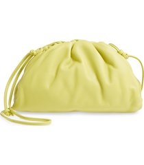 bottega veneta the mini pouch leather clutch - yellow