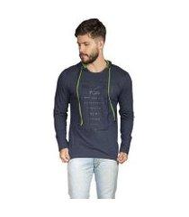 camiseta manga longa surf.com com capuz masculina