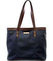 bolsa maria verônica sacola de ombro couro azul