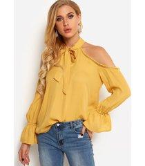 blusas con hombros descubiertos amarillos delanteros lisos detalles huecos