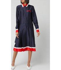 victoria, victoria beckham women's logo pleated shirt dress - midnight blue/red - uk 10