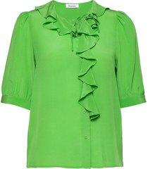 xilla silk blouses short-sleeved groen rodebjer