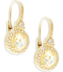 la petite round canary cubic zirconia, white topaz & goldplated drop earrings