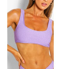 mix & match glitter crop bikini top, lilac