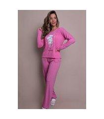 pijama bella fiore modas manga longa e calça marcelle rosa