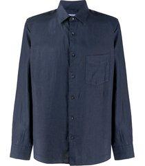 aspesi pointed collar linen shirt - blue