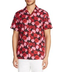 tallia men's slim fit performance stretch rose print camp shirt