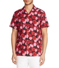 tallia men's slim-fit performance stretch rose print short sleeve camp shirt