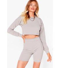 womens sweat it right sweatshirt and biker short set - grey