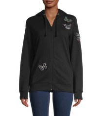 valentino women's embellished butterfly zip-front hoodie - nero - size s