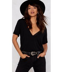 womens plunging scoop neckline t-shirt - black