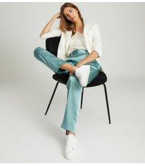 reiss elyssah - satin pleated trousers in blue, womens, size 14