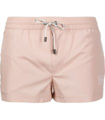 dolce & gabbana logo-patch swim shorts - neutrals