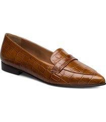 alexandra cognac croco nappa loafers låga skor brun flattered