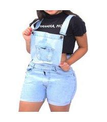 macacão jardineira jeans curta feminina macaquinho
