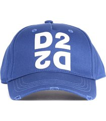 dsquared2 blue cotton mirrored d2 hat