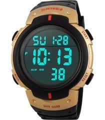 reloj digital estilo militar skmei 1068 negro dorado