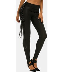 punk lace up o ring pants