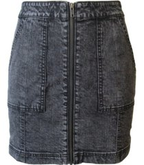 tinseltown juniors' zip-front denim mini skirt