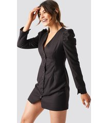 milena karl x na-kd puff mini blazer dress - brown