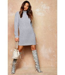 roll neck sweater dress, silver