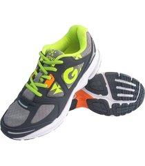 zapatillas golty active track - gris/verde