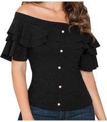 blusa china negro para mujer croydon