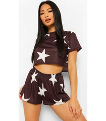 petite sterrenprint pyjama set met shorts, black