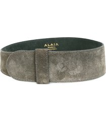 alaïa pre-owned wide suede belt - grey