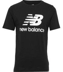 essentials stacked logo t t-shirts short-sleeved svart new balance