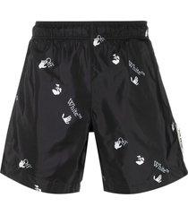 off-white all-over logo-print swim shorts - black
