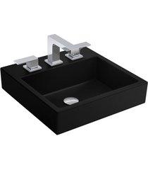 cuba de sobrepor quadrada com mesa ébano fosco 36x41,5cm l735 - deca - deca
