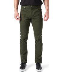 men's 7 diamonds brushed twill slim straight leg five-pocket pants, size 38 x 30 - green