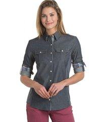 camisa mujer kiley ls vintage indigo/sail blue kuhl