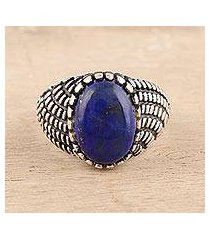 men's lapis lazuli ring, 'magnificent pool' (india)