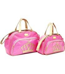 kit 2 peças, bolsa média e bolsa pequena bebe viagem passeio baby nut rosa - tricae
