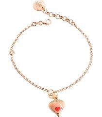 azhar designer bracelets, rose sterling silver and enamel small spinning top charm bracelet w/cubic zirconia