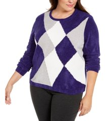 alfred dunner plus size classics colorblocked chenille sweater