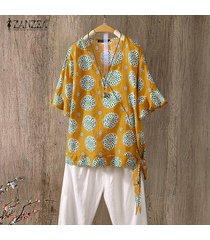 zanzea para mujer de la llamarada de la manga cuello en v impreso floral tops camisas ocasionales flojas de la blusa -amarillo