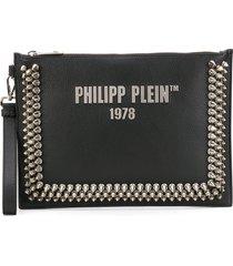 philipp plein studded logo clutch - black