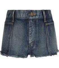 saint laurent fringe edge detail denim skirt
