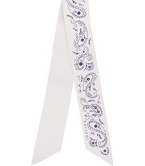 orciani thin leather scarf - white